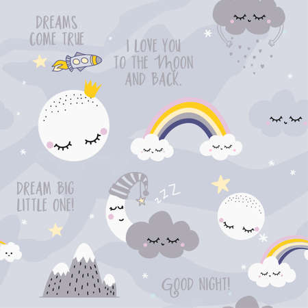 Clouds sky night scene pattern design for kids nursery - funny hand drawn doodle, seamless pattern.