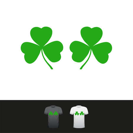 Good Luck - funny Saint Patricks Day inspirational three leaves clovfor t-shirts, cards, invitations, stickers, banners, gifts. Hand painted brush pen modern Irish tee. Bra, tits, boobs.