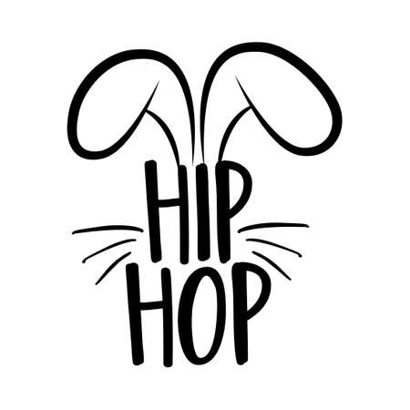 Hip Hop - Cute bunny design, funny hand drawn doodle, cartoon Easter rabbit. Good for children's book, poster or t-shirt textile graphic design. Vector hand drawn illustration. Vettoriali