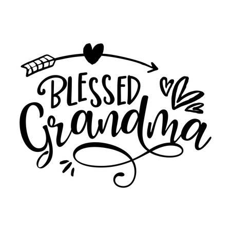 Blessed Grandma - funny vector quotes with hearts and arrow Ilustración de vector