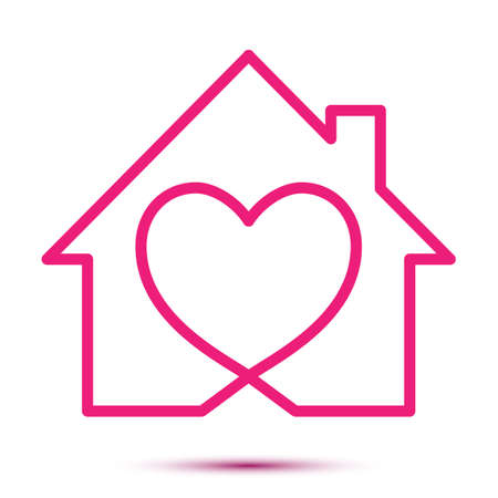 Home love heart logo - Business corporate logo. Handmade lettering print. Vector illustration with hearts, roof and chimney. Simple icon of house with heart shape within. House line art shape. ЛОГОТИПЫ