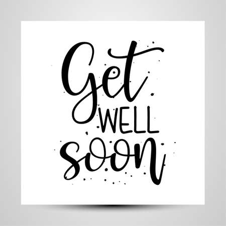 Get well soon - I will fight coronavirus STOP coronavirus (2019-ncov) - handwritten greeting card Awareness lettering phrase. Lettering for invitation and greeting card, prints and posters. Stock Illustratie