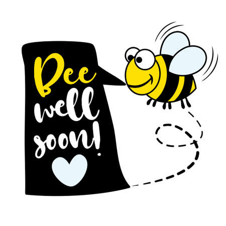 Bee (Be) well soon (Get well soon) - I will fight coronavirus STOP coronavirus (2019-ncov) - handwritten greeting card Awareness lettering phrase. Lettering for invitation and greeting card, prints.