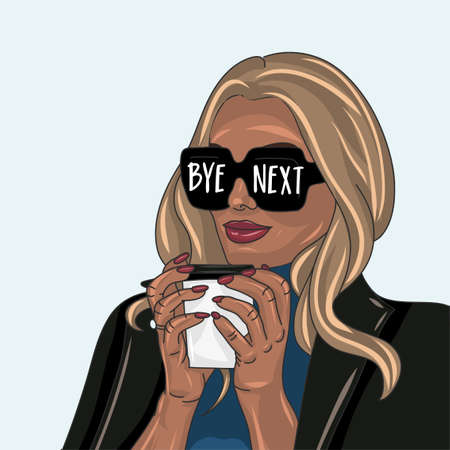 bye next - Hand drawn beautiful young woman in leatherjacket with morning coffee. Stylish girl with motivational quote. Fashion woman look. Casual look sketch. antisocial uotspoken sassy girl sunglasses. Иллюстрация
