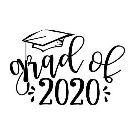 Grad of 2020 - Typography. black text isolated white background. Vector illustration of a graduating class of 2020. graphics elements for t-shirts, and the idea for the sign Vektoros illusztráció