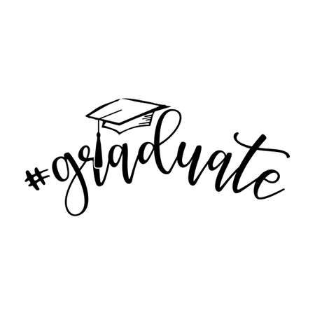 # graduate - Typography. black text isolated on white background. Vector illustration of a graduating class of 2020. graphics elements for t-shirts, and the idea for the sign Ilustrace