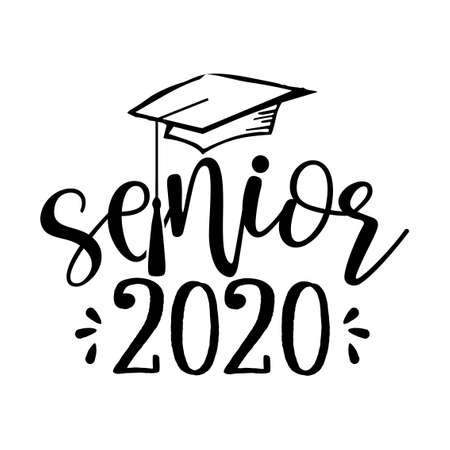 Senior 2020 - Typography. black text isolated on white background. Vector illustration of a graduating class of 2020. graphics elements for t-shirts, and the idea for the sign Ilustrace