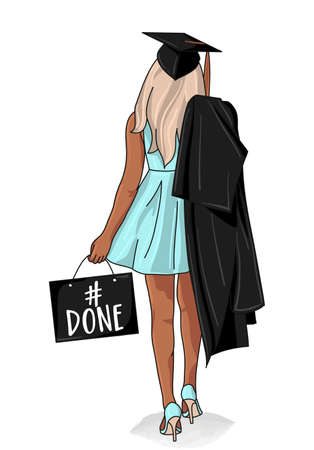 # done - Class of 2020 Congratulations Graduate - Typography. Pretty Beautiful blonde girl on graduation day with hat and uniform. Illustration
