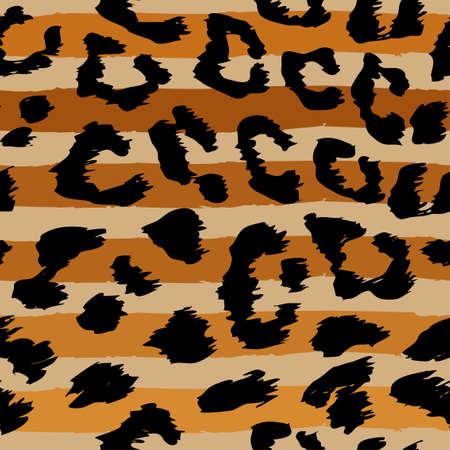 Leopard strapes pattern design - Sand color, funny drawing seamless leopard pattern. Lettering poster or t-shirt textile graphic design. / wallpaper, wrapping paper. Иллюстрация