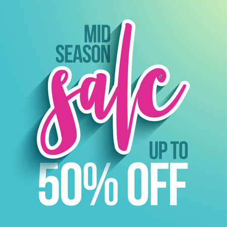 Mid season sale - banner with paper cut sale word and up to 50% off text, flyer, invitation, poster, web site or advertising banner. Social media post advertisement publicity.