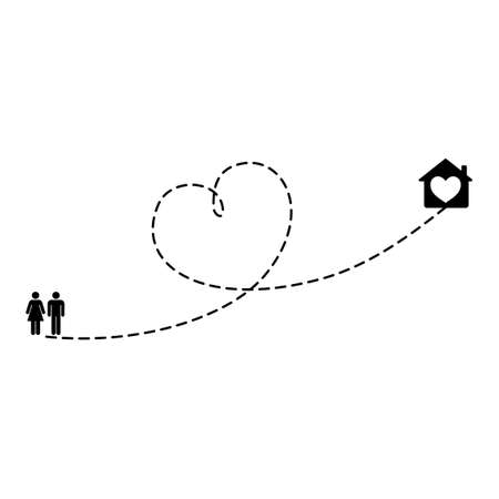 Lovely couple route to home or secret date place. Heart dashed line trace and walking routes isolated on white background. Romantic wedding travel, Honeymoon trip. Hearted path drawing.
