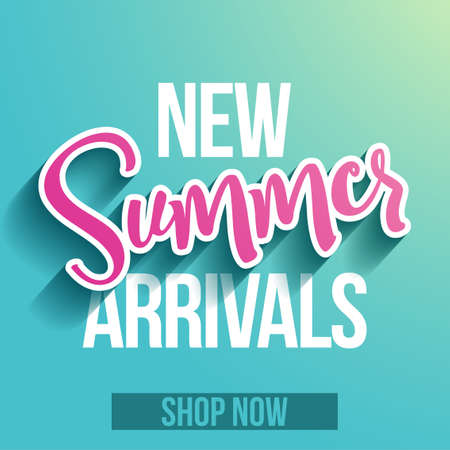 New Summer arrivals, shop now - banner with paper cut out summer word and new product text, flyer, invitation, poster, web site or advertising banner. Social media post advertisement publicity. Shop Çizim