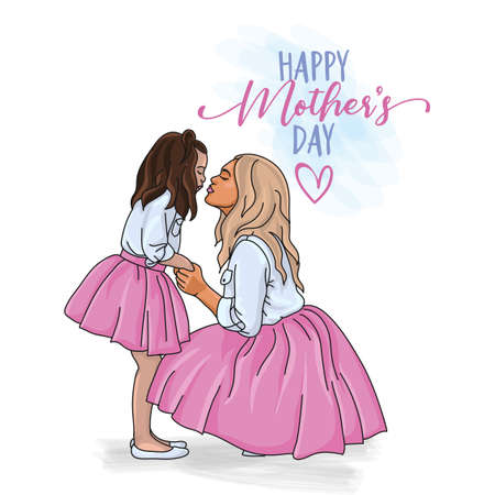 Happy Mother's Day! - Vector greeting card for Happy Mom Mother's day. Cute young daughter, mother and daughter in same outfits, hand in hand, kisses, weared tutu skirts. Ilustração