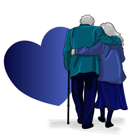 Free space for your text with heart - grandparents walk together on a white background, illustration. Happy elderly couple hugging and walking. lovely text, good for weeding anniversary greeting.