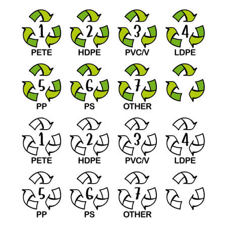 Set of recycling symbols for plastic. Recycle icons with numbers and letter designations - pet, pete, hdpe, pvc, ldpe, pp, ps, other. Recycling symbols. Big icon bundle.
