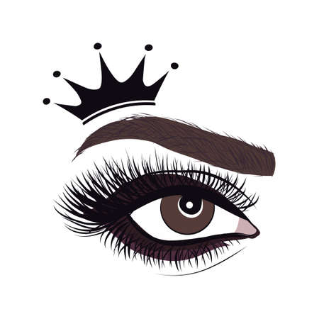 Beautiful logo with woman's eye, eyelash and eyebrow with crown. Realistic sexy makeup look. Tattoo design. Logo for brow bar, makeup artist. or lash salon. princess, queen beauty girl.