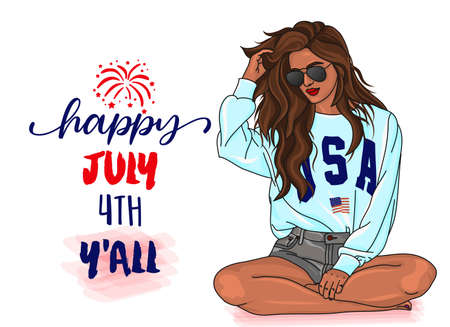 Happy July 4th Y'all - Independence Day USA with sassy glamor girl. Good for T-shirts, Flags of the USA in sensuality woman. Happy july 4th. Independence Day USA holiday.
