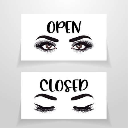 Open and closed - Business door sign. Vector illustration with woman eyes. Eyelash extension logo. Makeup vector illustration in a modern style