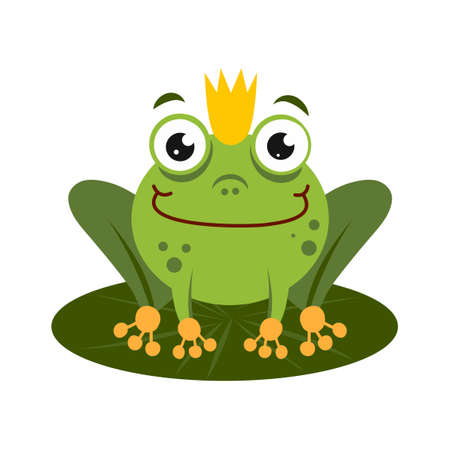 green king frog sitting on lotus leaf. cartoon character isolated on white background. frog prince with crown Vettoriali