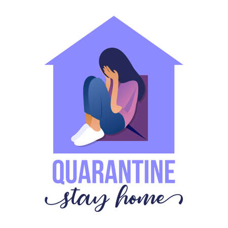 Quarantine, stay home - Beautiful sad woman sitting at home. Depressed woman stay at home, self isolation concept. Coronavirus or racism graphic.