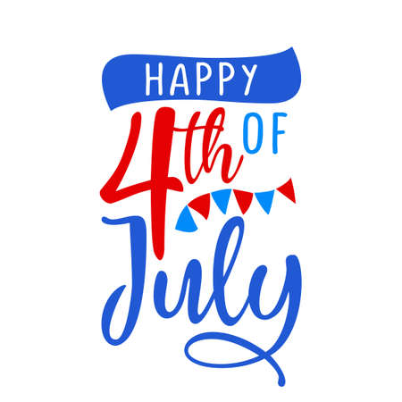 Happy 4th of July - Happy Independence Day July 4 lettering design illustration. Good for advertising, poster, announcement, invitation, party, greeting card, banner, gifts, printing press.