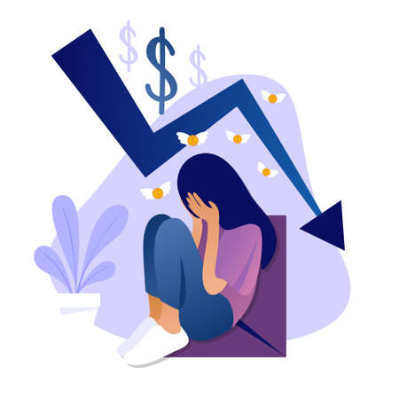 Beautiful sad girl crying because she has no money. Vector flat illustration of rate cut. Financial concept of cost reduction. Landing page template. Stock market crisis price arrow down chart fall.