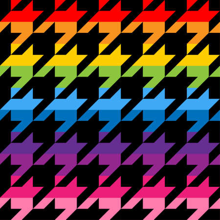 Houndstooth tweed pattern design in rainbow colors - funny drawing seamless pattern. Lettering poster or t-shirt textile graphic design. / wallpaper, wrapping paper.