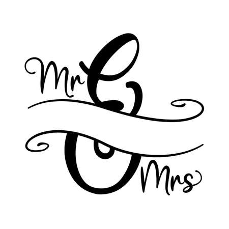 Mr and Mrs word with free space for last name or surename. Split lettercricut cameo split letter, family. Good for door board sign or other printig press gifts. Vektoros illusztráció