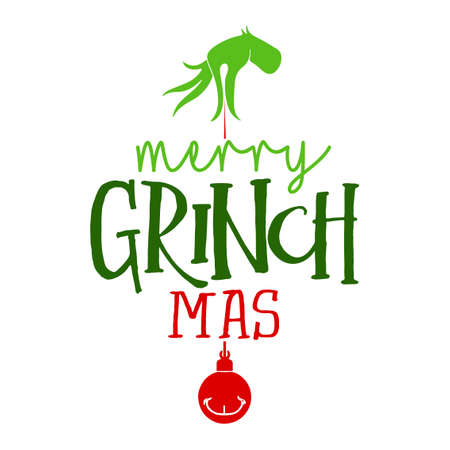 Merry Christmas with Grinch - Calligraphy phrase for Christmas. Hand drawn lettering for Xmas greetings cards, invitations. Good for t-shirt, mug, scrap booking, gift, printing press. Holiday quotes. Vettoriali