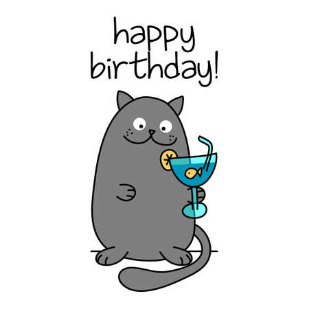 Happy Birthday text with cute cat with goldfish cocktail - funny quote design with gray cat. Kitten calligraphy sign for print. Cute cat poster with lettering, good for t shirts, gifts, mugs.