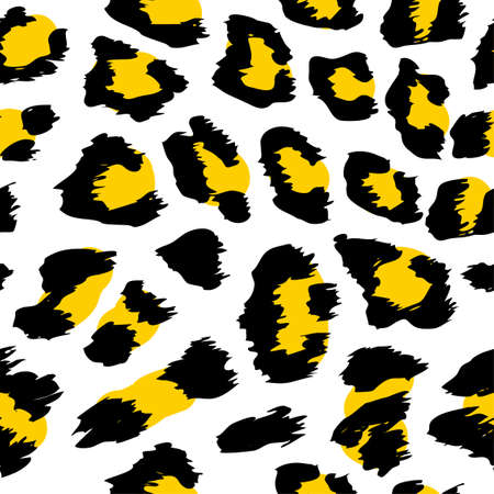 Leopard pattern design in yellow, black, white colors - funny drawing seamless pattern. Lettering poster or t-shirt textile graphic design. / wallpaper, wrapping paper.