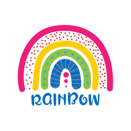 Rainbow - cute rainbow decoration. Little rainbow in scandinavian nordic style, posters for nursery room, greeting cards, kids and baby clothes. Isolated vector.