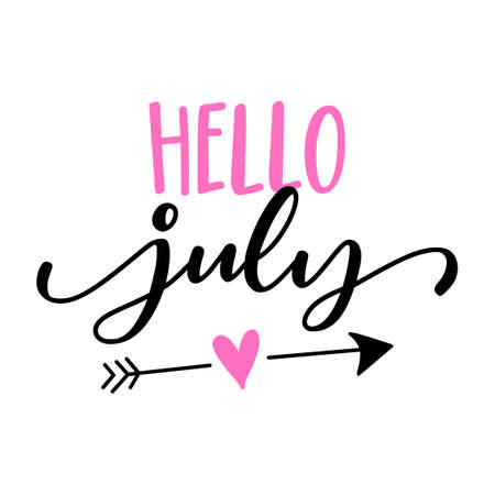 Hello July - Hand drawn summer lettering card, background. Vector illustration with heart arrow, discounting, posters, t shirts, social media, or other printing. Good summer vibes. Vettoriali