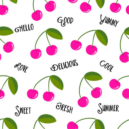 Cute cherry berry pattern background with summer feeling words - funny vector drawing seamless pattern. Lettering poster or t-shirt textile graphic design. Cute illustration. wallpaper, wrapping paper