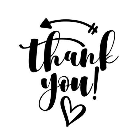 Thank You handwritten lettering. Hand drawn typography. Good for scrap booking, posters, greeting cards, banners, textiles, gifts, T-shirts, mugs or other gifts.