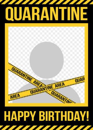 Quarantine Birthday Party photo frame - STOP coronavirus (2019-ncov) Funny awareness lettering phrase. Coronavirus in China. Novel coronavirus. Get well concept.