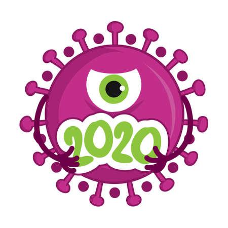 2020 coronavirus (2019-ncov) - hand drawn cute virus or bacterium - Awareness lettering phrase. Coronavirus in China. Novel coronavirus (2019-nCoV). Concept of coronavirus quarantine. Vettoriali