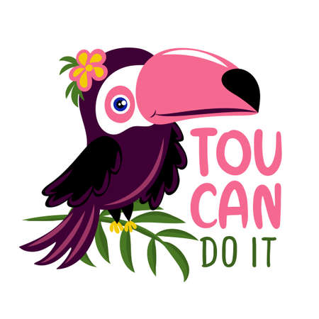 Toucan do it (You can do it) - Motivational quote with beautiful toucan bird. Hand painted brush lettering with toucan. Good for t-shirts, posters, textiles, gifts, travel sets.