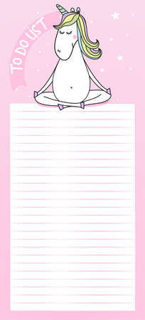 To Do List - Cute template with namaste yoga unicorn and decorative pink background. Organizer with lined page and check boxes. Trendy self-organization concept with graphic design elements. Vettoriali