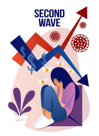 Coronavirus, second wave -Quarantine, stay home, financial crisis Beautiful sad woman sitting at home. Depressed woman stay at home, self isolation concept. Covid-19 2th wave concept.