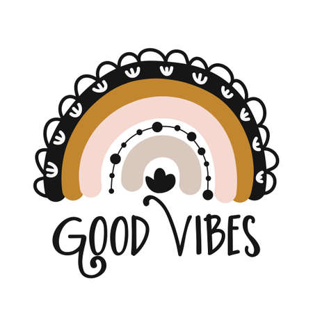 Good vibes - cute rainbow decoration. Little rainbow in scandinavian nordic style, posters for nursery room, greeting cards, kids and baby clothes. Isolated vector. Vettoriali