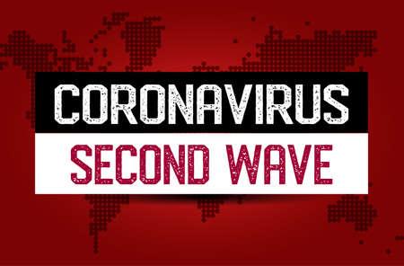 coronavirus (2019-ncov) second wave 2nd - Awareness lettering phrase. Coronavirus in China. Novel coronavirus (2019-nCoV). Concept of coronavirus quarantine. Vettoriali