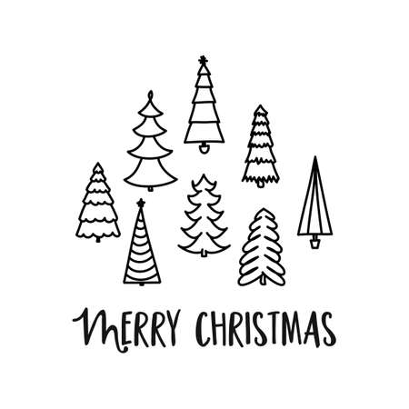 Merry Christmas - Calligraphy phrase for Christmas pine trees. Hand drawn lettering for Xmas greetings cards, invitations. Good for t-shirt, mug, scrap booking, gift, printing press. Holiday quotes.