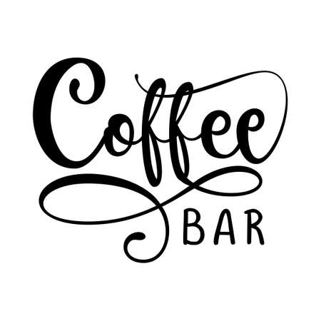 COFFEE bar logo - design for Bars, restaurants, coffee shops, flyers, cards, invitations, stickers, banners. Hand painted brush pen modern calligraphy isolated on white background.