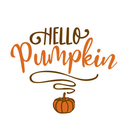 Hello pumpkin - Hand drawn vector illustration. Autumn color greeting. Good for scrap booking, posters, greeting cards, banners, textiles, gifts, shirts, mugs or other gifts.