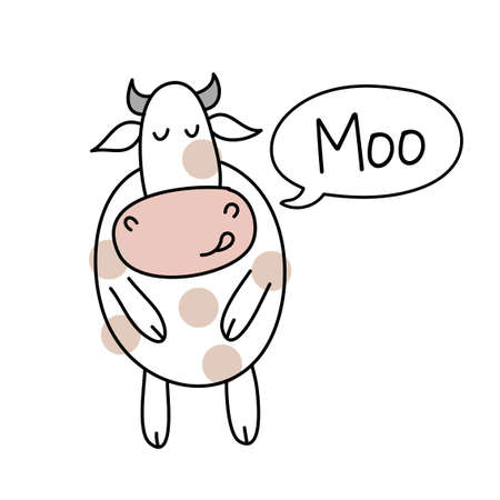 Cow with moo text - funny hand drawn doodle, cartoon boo calf. Good for Poster or t-shirt textile graphic design. Vector hand drawn illustration.