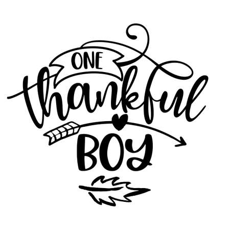 One Thankful Boy - Inspirational Thanksgiving day or Harvest handwritten word, lettering message. Handwritten calligraphy for fall. Good for t shirt, gift, posters, cards. Autumn color sticker.