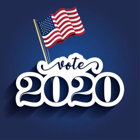 Vote 2020 - vector illustration. Vector illustration. Text for presidential Election of USA Campaign. Badge United States lection vote.