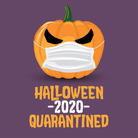 Halloween 2020 Quarantined - funny pumpkin lantern illustration in mask, print. Vector humorous illustration with cute pumpkin with face mask. Good for prints on t-shirts and bags, posters, cards.