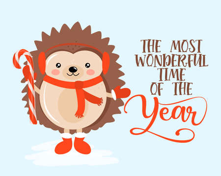 The most wonderful time of the year - Hand drawn vector illustration with cute hedgehog with candy cane. Winter color poster. Good for posters, greeting cards, banners, textiles, gifts, shirts, mugs. Illustration
